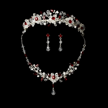 Red & Swarovski Crystal Bridal Jewelry & Tiara Set 8003