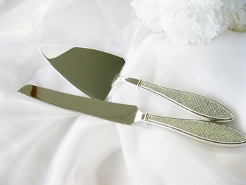 Rhinestone Handle Wedding Cake Server Set CS 83616