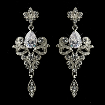 Antique Silver or Silver Clear Dangle Tear Drop CZ Crystal Bridal Earrings 8485