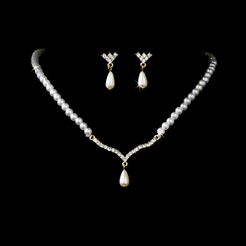 Gold and Ivory Pearl Necklace and Earring Set NE 129