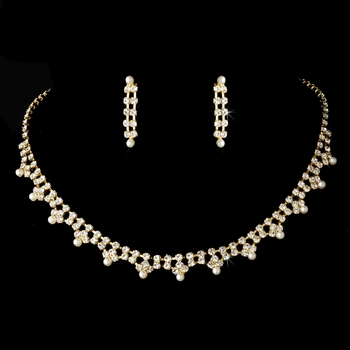 * Dazzling Gold Clear Rhinestone & Ivory Pearl Necklace & Earring Set 170