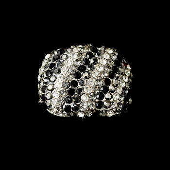 Black Gray & Clear Cubic Zirconia Ring 2029