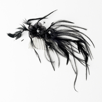 Black Headpiece 7025 Black - Feather Fascinator on Comb