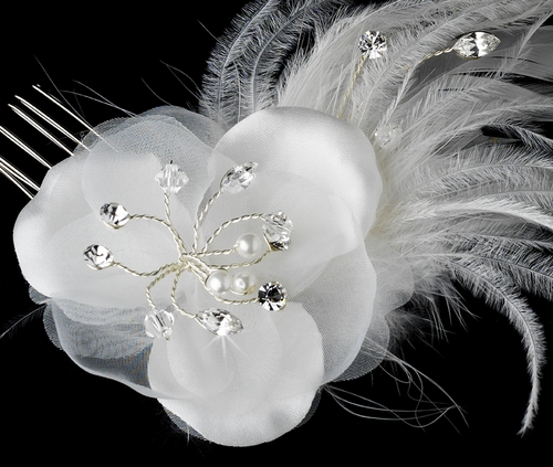 Feather Fascinator White or Ivory Comb 1533