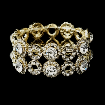 Gold Clear Crystal Stretch Bridal Bracelet 8658