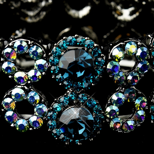 Hematite Turquoise & Light Blue AB Crystal Bridal Stretch Bracelet 8658