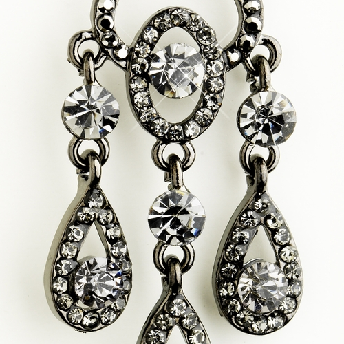 Hematite Smoked Black Diamond Crystal Chandelier Bridal Earrings 8681***Discontinued***