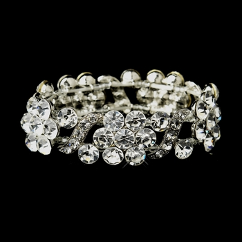 Silver Clear Crystal Bridal Stretch Bracelet 8661