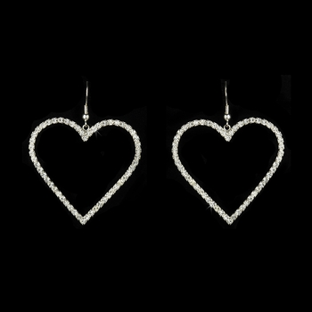 * Charming Silver Clear Austrian Crystal Heart Earrings 24094**Discontinued***