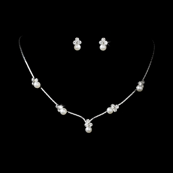 Silver & White Pearl Necklace & Earring Set NE 117 * Gold IV 1 Left *