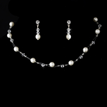 Illusion Bridal Necklace Earring Set 207 White