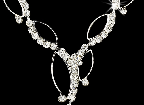 Necklace Earring Set 8302 Silver Clear