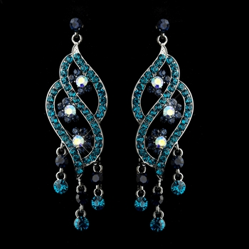 Antique Silver Turquoise & Blue Rhinestone Dangle Bridal Earrings 8657