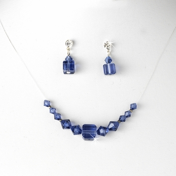 Navy Illusion Necklace & Earring Set NE 233
