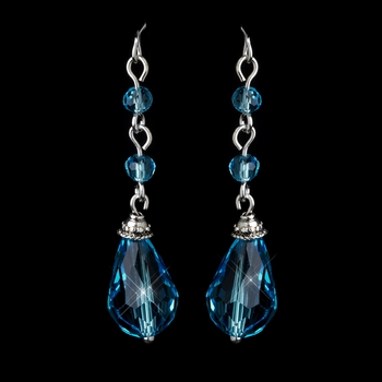 Silver Aqua Crystal Tear Drop Dangle Bridal Earrings 8737
