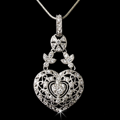 Antique Silver Clear Cubic Zirconia Heart Necklace 2702