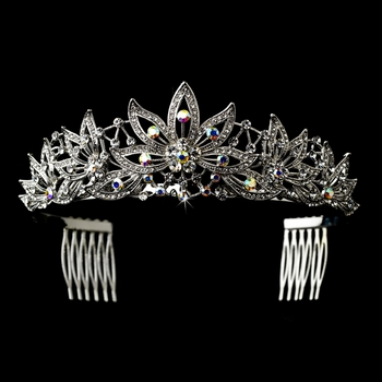 Rhodium Clear AB Big Leaf Headpiece 9953