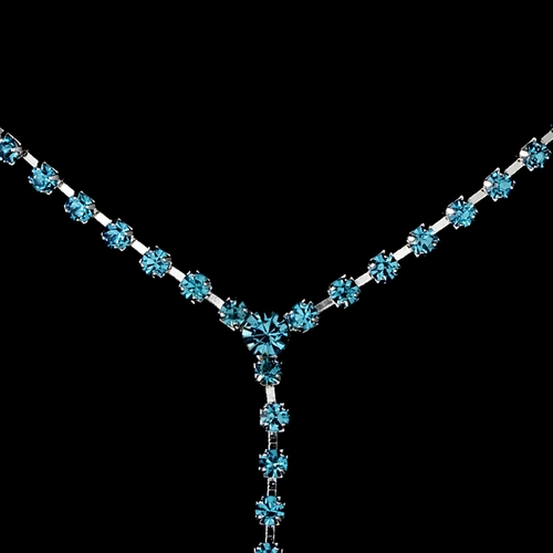 * Silver Aqua Y Drop Crystal Jewelry Set NE 313