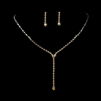 * Silver Tan Y Drop Crystal Jewelry Set NE 313