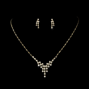* Gold Clear Rhinestone Necklace & Earring Set NE 309