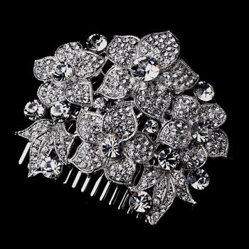 Silver Clear Floral Comb 915