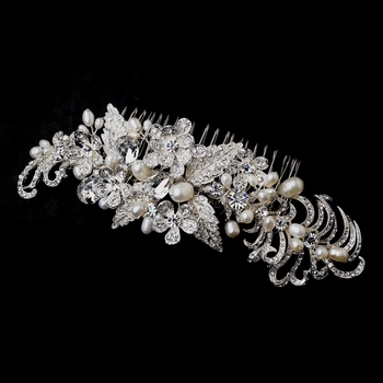 Silver Clear and Freshwater Pearl Hair Comb 913