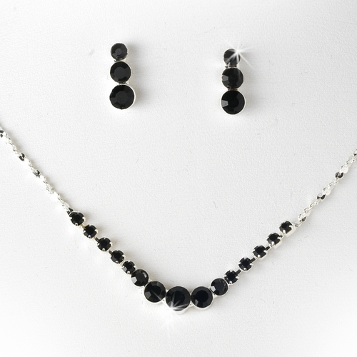 * Necklace Earring Set 305 Silver Black