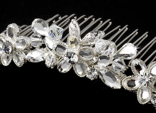 Luminous Silver Clear Swarovski Crystal Floral Bridal Comb 8250