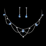 * Silver Light Blue Necklace & Earring Bridal Jewelry Set NE 8000