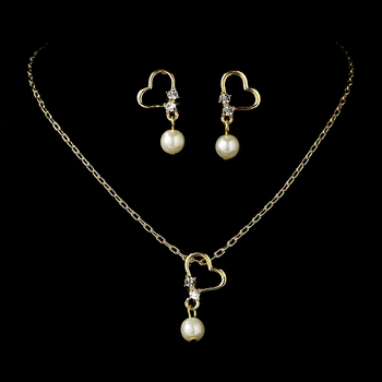 Children's Gold Pearl & Crystal Heart Jewelry Set NE C 8377