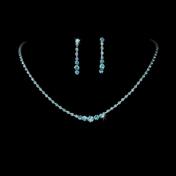 * Aqua Accented Crystal Jewelry Set NE 337***Only 1 Left****