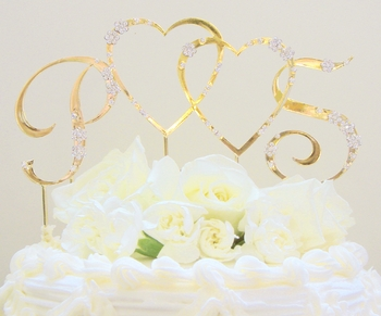 French Flower ~ Double Heart & Initials Crystal Accented Cake Topper