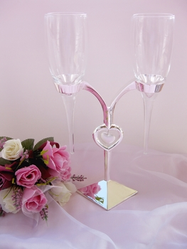 Elegant Crystal Heart Stand Wedding Toasting Flutes FL 227