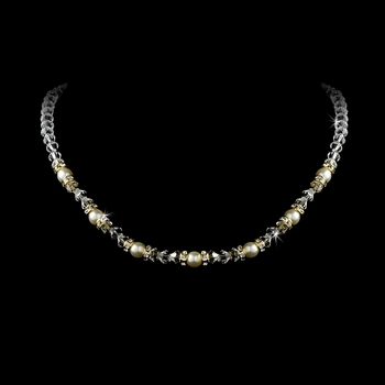 Gold and White Pearl Necklace with Rhinestone Accents N 213