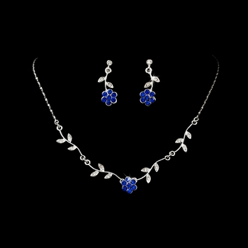 * Enchanting Silver Blue Floral Bridal Jewelry Set NE 330