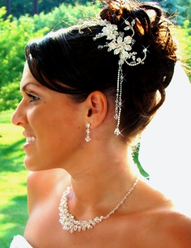 Crystal Glamour Bridal Comb 8153 with Dangles