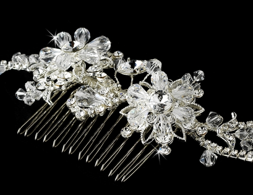 Swarovski Crystal Bridal Couture Side Comb 7809 Silver