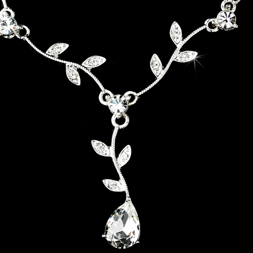 Necklace Earring Set 328 Dangle Silver Clear