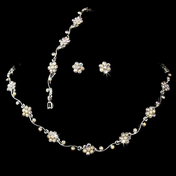 * Silver AB Floral Bridal Jewelry Set NEB 381