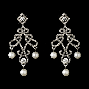 Silver Diamond White Pearl & Rhinestone Dangle Drop Bridal Earrings 22562
