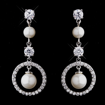 Antique Silver White Pearl & CZ Earrings 5863