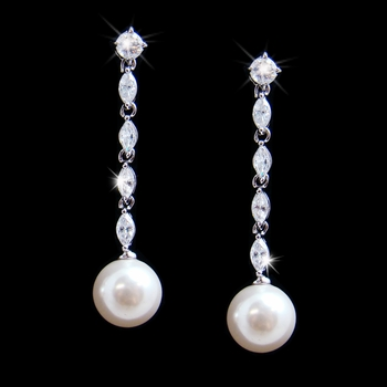 Cubic Zirconia & Pearl Drop Bridal Earrings E 2148