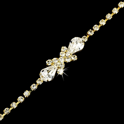 Rhinestone Tennis Bracelet in Gold Plating with Center Embellishment 342
