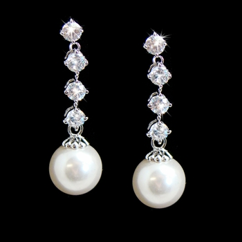Stunning Silver Clear Cubic Zirconia & White Pearl Earrings 3626