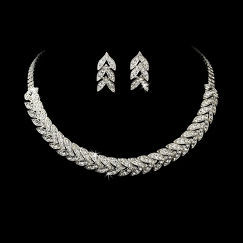Silver Clear Rhinestone Choker Necklace & Earring Set NE 373 **Discontinued**