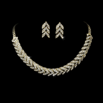 Gold Clear Rhinestone Choker Necklace & Earring Set NE 373 **Discontinued**