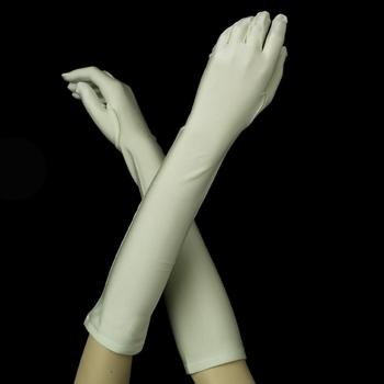 Matte Satin Bridal Bridesmaid Gloves -Celedon