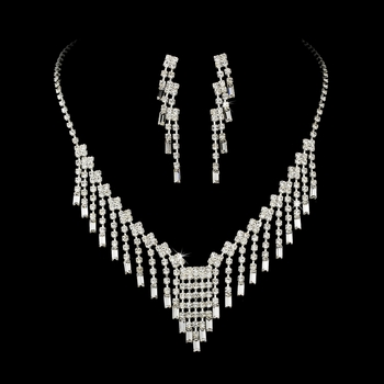 * Glamorous Silver Clear Crystal Necklace & Earring Set NE 365