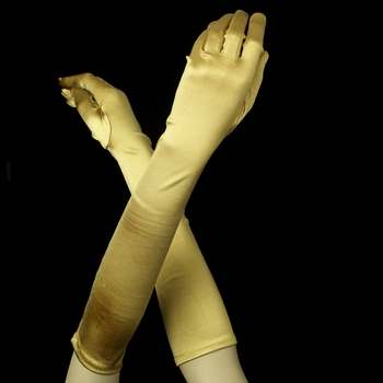 Satin Bridal Bridesmaid Gloves - Gold
