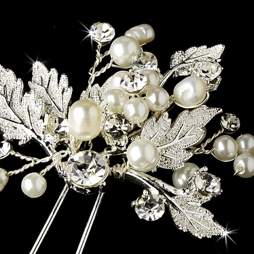 Silver Floral Vine Bridal Hair Pin 1129 Diamond White